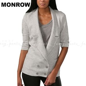 MONROW Fleece Blazer Boyfriend Jacket Med Gray
